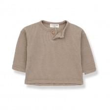 Olijfgroen t-shirtje met lange mouwen en wafelstructuur - Ismael khaki