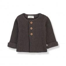 Antracietgrijze geribbelde cardigan - Violette terrau