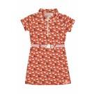 Terracotta kleurig kleed met zwanen - drip