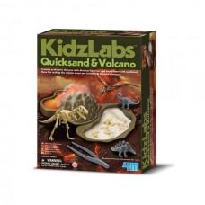 Vulkaan en dino in drijfzand experimentbox