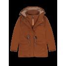 Karamelkleurige winterjas met teddy - Am storm brown