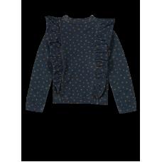 Donkerblauwe trui met bolletjesprint - Philou oval print