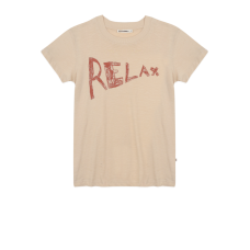 Beige t-shirt met opschrift - Pebble zoe