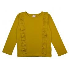 Mostergele t-shirt met ruches - Ruffle shirt mustard rufshirt/mus