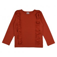 Roestkleurige t-shirt met ruches - Ruffle shirt plain red rufshirt/red