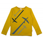 Okergele t-shirt met vliegtuigen- Longsleeve airplane