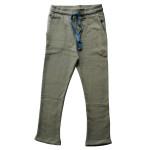 Geel/blauwe baggy broek - Baggy pants bicolor blue piqué bagpant/bib
