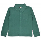 Groen gemêleerd hemd - Boys shirt long sleeves piqué bicolor green (stapelkorting)