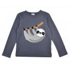 Grijsblauwe t-shirt metluiaard- Longsleeve silly sloth