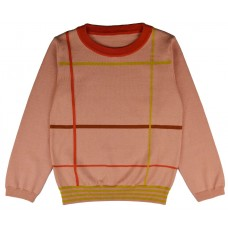 Oudroze sweater met strepen - Pullover girls checked gipull/check