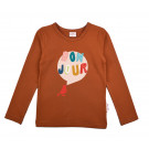 Roestkleurige t-shirt bonjour - Longsleeve girls plain brown