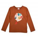 Roestkleurige t-shirt bonjour - Longsleeve girls plain brown