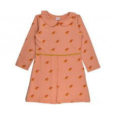 Oudroos kleedje met vogeltjes - Collar dress birds coldres/bird