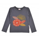 Grijsblauwe t-shirt met bloem orange - Longsleeve girls plain dark grey