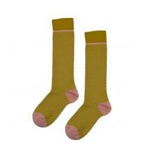 Mosterdgele kniekousen - Kneesocks knitwear mustard