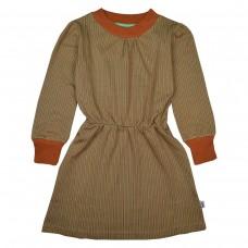 Kakiegroen/oranjebruin gestreept kleedje - Charlie dress thin stripes