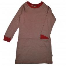 Donkerrood gestreept kleedje - Clarisse dress diagonal stripes