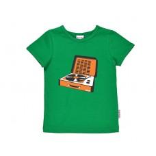 Grasgroene t-shirt met retro platenspeler- Longplayer jersey plain green