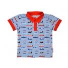 Grijsblauw  hemd korte mouwen met boten - maat 62 (Geboortelijst ...)