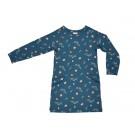 Sweaterdress petrolblauw met retrobloemen - sweatdress retroflower - maat 98 (Geboortelijst Lilly H.)