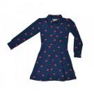 Blauw kleedje met kubussen- dress cubes - maat 68 (Geboortelijst Florien V.R.)