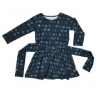 Blauw zwierkleed met veren  - tie dress leaves