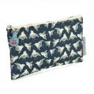 Hip petrolblauw zakje met vogels - money bag birds