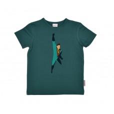 Groenblauwe t-shirt met superman - flying hero