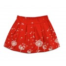 Rood rokje met blaasbloemen - pleat skirt dandelion