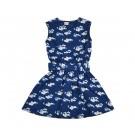 Petrolblauw zwierkleed met fijne bloemetjes - tiedress julia blue