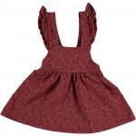 Roodbruin salopetkleedje met druppeltjes - Grass printed sweat dress 18tile