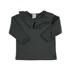 Grijze t-shirt met kraagje - Ocean cotton girl t-shirt anthracite