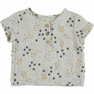 Lichtgrijze hydrofiele shirt met stipjes - chesnut