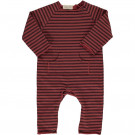 Roodbruin gestreept kruippakje - Bear striped sweat playsuit 18tile