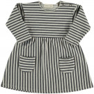 Grijs gestreept kleedje - Cotton striped sweat dress bush 17ice