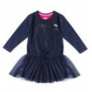 Donkerblauw kleedje met zwaan en tule rokje