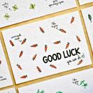 Good luck you can do it!  - bloeikaarten (wortels)