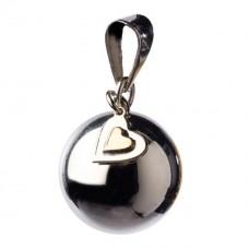 Zilverkleurige bola met hartjesbedeltje - Bola silver with hart charm