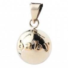 Zilverkleurige bola met baby in goudkleur - Bola silver with baby in letters