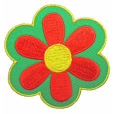 Strijkapplicatie : oranje - groen bloemetje