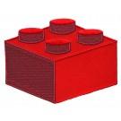 Strijkapplicatie : rode legoblok