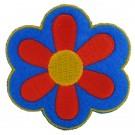 Strijkapplicatie : blauw- rood bloemetje