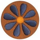 Strijkapplicatie : bruin - grijs bloemetje