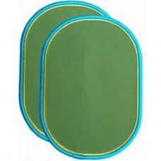 Strijkapplicaties : grasgroene knielappen met geel en turquoise rand