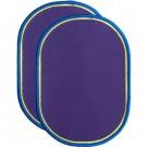 Strijkapplicaties : paarse knielappen met gele en blauwe rand