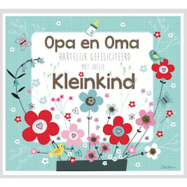 gefeliciteerd met kleinkind Coos storm   Wenskaart munt met bloemetjes   Hartelijk  gefeliciteerd met kleinkind