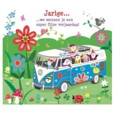Wenskaart blauwe volkswagenbus met kabouters - Jarige we wensen je een super fijne verjaardag!