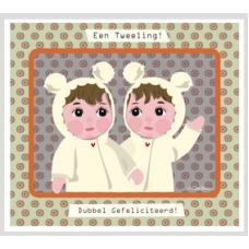 Wenskaart met 2 kindjes - Een tweeling! Dubbel gefeliciteerd!
