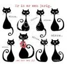 Wenskaart met katten - Miauw...er is er eentje jarig