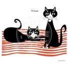 Wenskaart met 2 katten - miauw